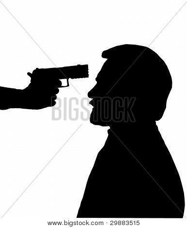 Silhouette Of Man With Gun Against Head