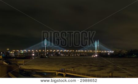 Guy Bridge In Night.