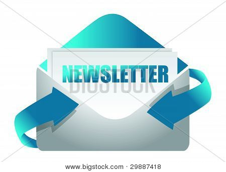 newsletter envelope illustration design on white illustration