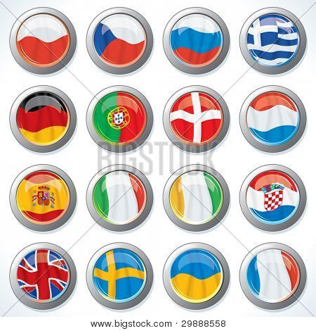 Buttons with All Flags of Groups Euro 2012. Football Championship Flags