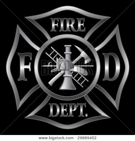 Fire Department Maltese Cross Silver