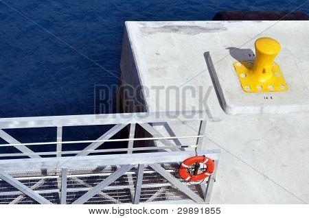 Yellow Bollard And Gangway