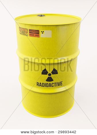 Yellow barrel with radioactive materials, special warning signs, 3d render