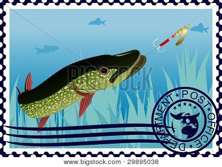 Postage stamp. The hunt for pike.