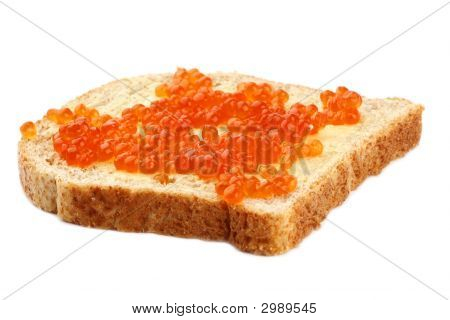 Red Caviar On Brown Sliced Bread With Butter