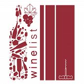 Wine Background With Bottle And Grape. Design Element In Modern Style For Tasting, Menu, Wine List,  poster