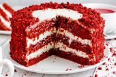 Red Velvet Cake, Classic Three Layered Cake From Red Butter Sponge Cakes With Cream Cheese Frosting, poster