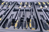 Set Of Screwdrivers Inside Toolbox, Screwdrivers Set, Box With Set Of Tools, Set Mechanical Tools. poster