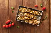 Vegan Italian Food. Baked Eggplants With Organic Cherry Tomatoes, Herbs, And Lactose-free Cheese, Sh poster