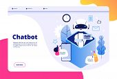 Chatbot Concept. Chat With Android Woman Man Talking With Mobile Phone To Ai Application Bots Help H poster