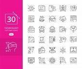 Set Of Icons In Trendy Linear Style Technology. Modern Thin Line Icons Set Of Future Technology And  poster