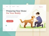 Landing Page Template Of Pet Care. Modern Flat Design Concept Of Web Page Design For Pet Website. Ve poster