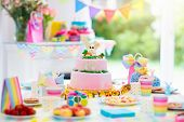 Kids Birthday Party Decoration And Cake. poster