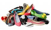 stock photo of high-heels  - Pile of various female summer shoes isolated over white - JPG
