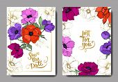 Anemone Floral Botanical Flowers. Black And White Engraved Ink Art. Wedding Background Card Floral D poster
