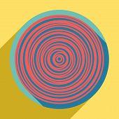 Wood Cross Section. Sunset Orange Icon With Llapis Lazuli Shadow Inside Medium Aquamarine Circle Wit poster