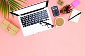 Flat Lay Office Workspace With Blank Laptop, Clipboard, Eucalyptus Branches On Pink Background. Top poster