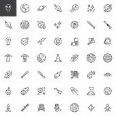 Space Line Icons Set. Linear Style Symbols Collection, Outline Signs Pack. Vector Graphics. Set Incl poster