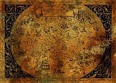Vintage Fantasy World Map With Pirate Ship, Compass, Dragons On Old Paper Texture. Hand Drawn Graphi poster