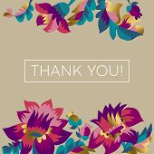 Thank You Vector Greeting Card, Postcard Concept. Gratitude Message In Decorative Floral Frame. Eleg poster
