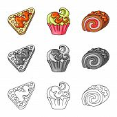 Vector Design Of Confectionery And Culinary Logo. Collection Of Confectionery And Product Stock Vect poster