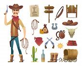 Wild West Cartoon. Saloon Cowboy Western Lasso Symbols Vector Pictures Isolated. Illustration Of Wil poster