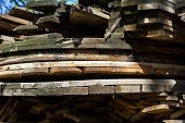Stack Of Old Firewood Texture Background. Firewood For The Winter, Stacks Of Firewood, Pile Of Firew poster