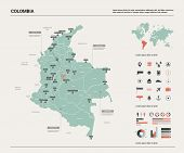 Vector Map Of Colombia. High Detailed Country Map With Division, Cities And Capital Bogota. Politica poster