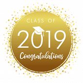 Class Of 20 19 Year Graduation Banner, Awards Concept. Medal Idea, Holiday Coloured Invitation Card, poster