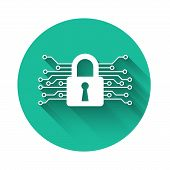 White Cyber Security Icon Isolated With Long Shadow. Closed Padlock On Digital Circuit Board. Safety poster