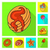 Isolated Object Of Confectionery And Culinary Sign. Collection Of Confectionery And Colorful Vector  poster
