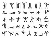 Fitness Symbols. Sport Exercise Stylized People Making Exercises Vector Icon. Fitness Exercise, Trai poster