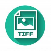 White Tiff File Document Icon. Download Tiff Button Icon Isolated With Long Shadow. Tiff File Symbol poster