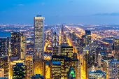 Aerial view of Chicago Skylines building at Chicago downtown in Chicago City Illinois USA. Looking t poster