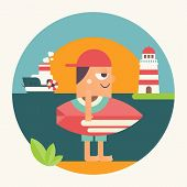 Surfing Poster. Funny Cartoon Surfer In Baseball Cap With Surfboard, Lighthouse And Steamship. Vecto poster