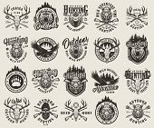 Vintage Monochrome Hunting Emblems Set With Bear And Boar Animal Track Heads Flying Eagle Deer And H poster