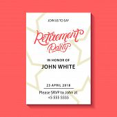 Retirement Party Invitation. Retirement Party Hand Written Lettering. Modern Brush Calligraphy. Temp poster