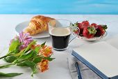 Morning  Romantic Breakfast - Coffee Mag, Empty Notebook , Flowers, Croissant, Strawberries - Cozy S poster