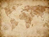 Ancient vintage world map illustration poster