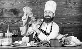 Healthy Food Recipe. Eat Healthy. Dieting Concept. Man Wear Hat And Apron Hold Lettuce. Bearded Hips poster