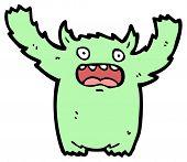 furry green monster cartoon poster