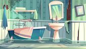 Flooded Bathroom In Old Apartments Or House Cartoon Illustration With Vintage Bathtub, Shabby, Dirty poster