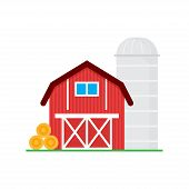 Red Barn For Grain Storage And Harvest, Silo Storage And Haystack. Wooden Agricultural Building. Hor poster