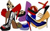 picture of high-heels  - An illustration of high heeled shoes in various different styles - JPG