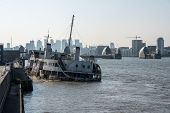 The Wreck Of The Royal Iris Ferry Boat That Is Sinking In London Docklands Near The Thames Barrier poster