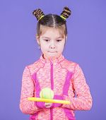 I Like Playing Tennis. Cute Tennis Player. Little Girl Child In Sport Club. Sport Training For Kids. poster