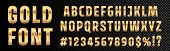 Gold Font Numbers And Letters Alphabet Typography. Vector Golden Font Type With 3d Gold Effect poster
