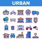 Urban, City Life Thin Line Icons Set. Urban Architecture, Transportation, Industry Linear Illustrati poster