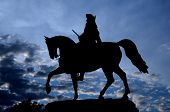 Silhouette Picture At The Blue Hour Of The Equestrian Statue Of George Washington Designed By Thomas poster