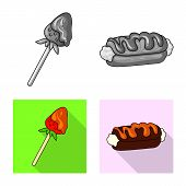 Vector Illustration Of Confectionery And Culinary Logo. Set Of Confectionery And Product Stock Vecto poster